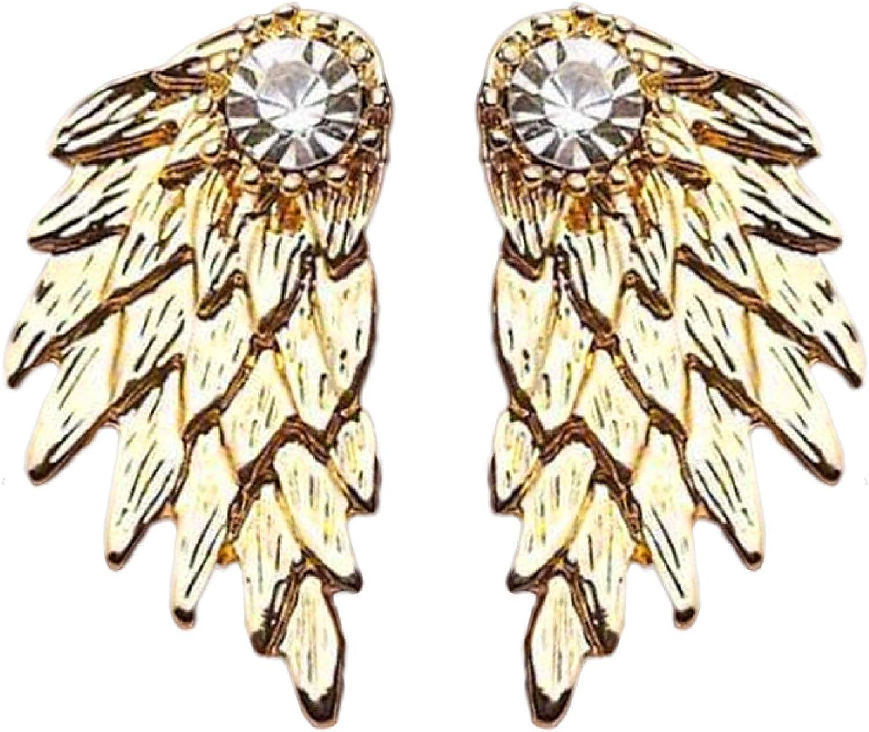 Vintage Angel Wings Max 41% OFF Rhinestone Ear Jacket Jewe Manufacturer direct delivery Earrings Piercing