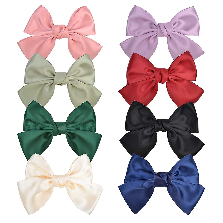 8pcs Big Gifts Hair Bows Clips 8 Ribbon Stain Inches Max 44% OFF Silk Barrett
