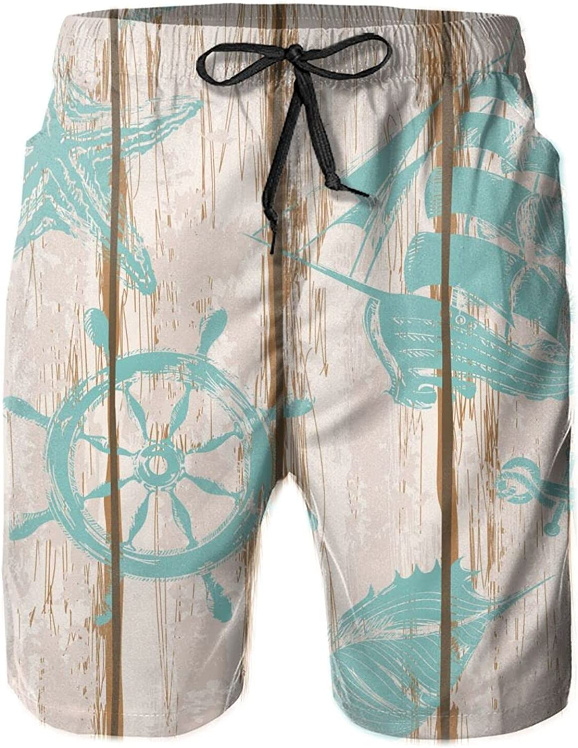 Old Wooden Board Anchor Seashell Starfish Sailboat Men's Elastic Beach Shorts Lightweight Breathable Casual Mesh Lining Swimsuit Shorts with Pockets M-XXL