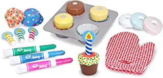 Melissa & Doug Bake & Decorate Cupcake Set (Pretend Play, Colorful Wooden Play-Food Set, Materials, 22 Pieces, Great Gift for Girls and Boys - Best for 3, 4, and 5 Year Olds)