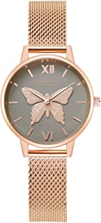 RORIOS Women Watch Butterfly Dial Stainless Steel Mesh Strap Analogue Quartz Wristwatch Ladies Watch Female Watch Wrist Watch