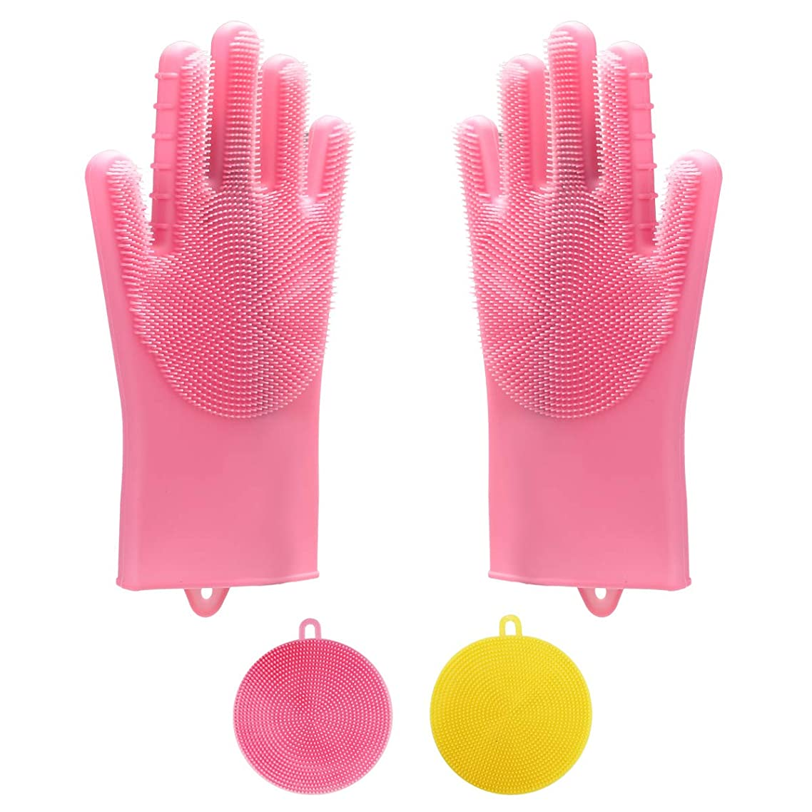 Magic Silicone Dishwashing Cleaning Gloves Wash Scrubber 1 Pair Dish Washing Kitchen Heat Resistant Scrub Rubber Glove for Kitchen Bathroom Pet Car Washing