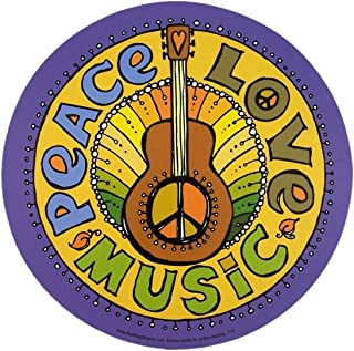Peace, Love, and Music Magnet for Car Locker or Refrigerator, 5 3/4 Inch