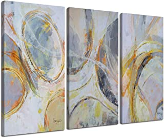 Canvas Wall Art Abstract Circle Stripes Yellow Painting Prints Modern Vertical Blocks 3 Panels Pictures, Brown Geometric Artwork Wood Framed for Living Room Bedroom Home Office Kitchen Décor Original