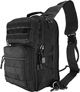 ProCase Tactical Sling Bag Pack with Pistol Holster, Military Rover Sling Shoulder Backpack Outdoor Sport Daypack for Hunting, Trekking and Camping -Black