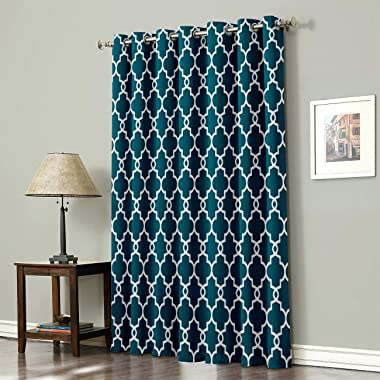 Vandarllin Modern Geometric Pattern Thermal Insulated Blackout Window Curtains/Treatments(1 Panel) Teal Doors Curtains and Dr