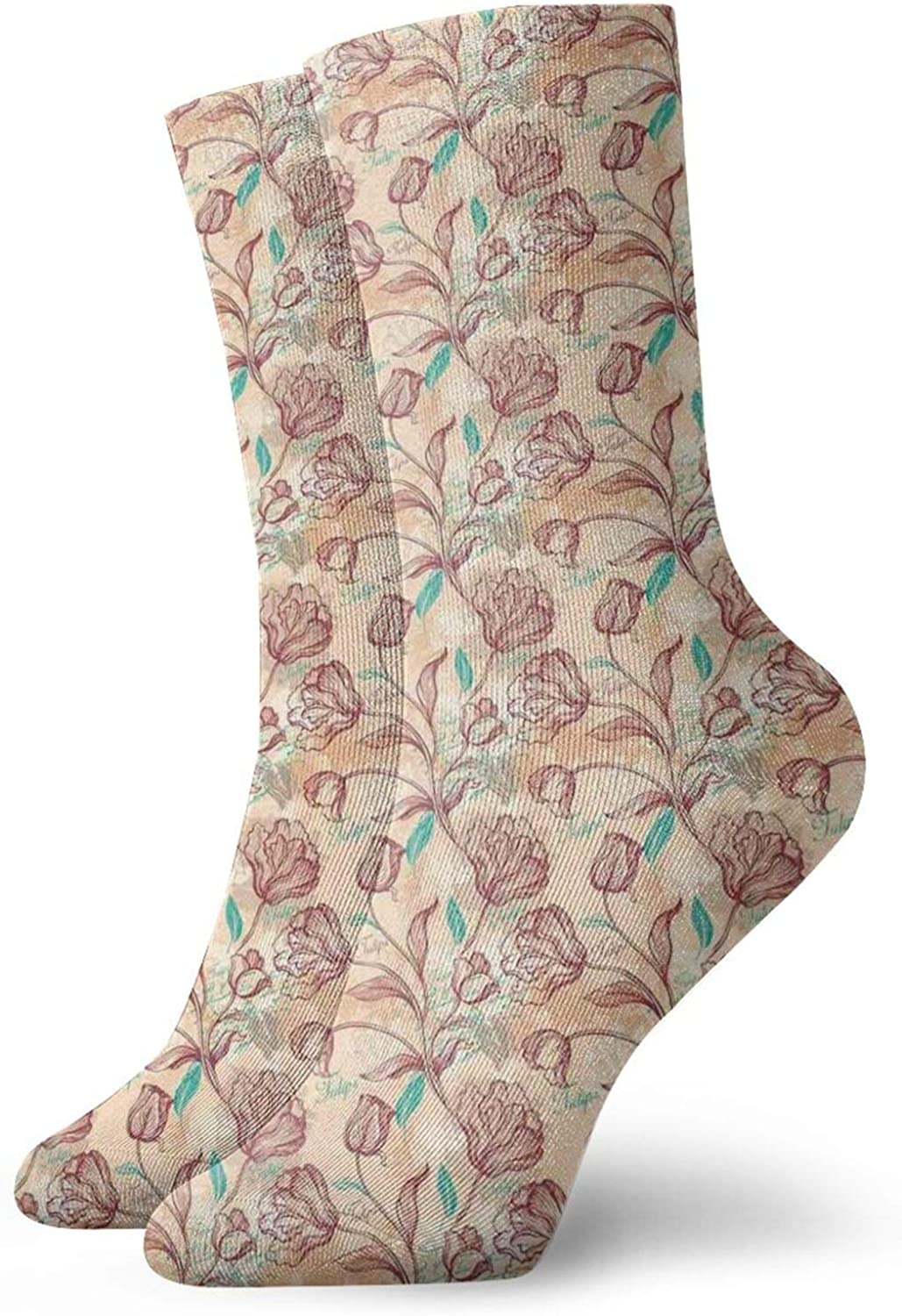 Silhouettes Of Blossoming Fresh Petals Of Spring Season On Dark Toned Background Athletic Socks For Men / Women,30CM