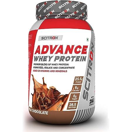 """Scitron Advance Whey Protein (28.5 Servings, 25.5g Protein, 6g BCAAs, 0g Sugar, 20 Vitamins & Minerals) €"""" 1kg (Milk Chocolate)"""