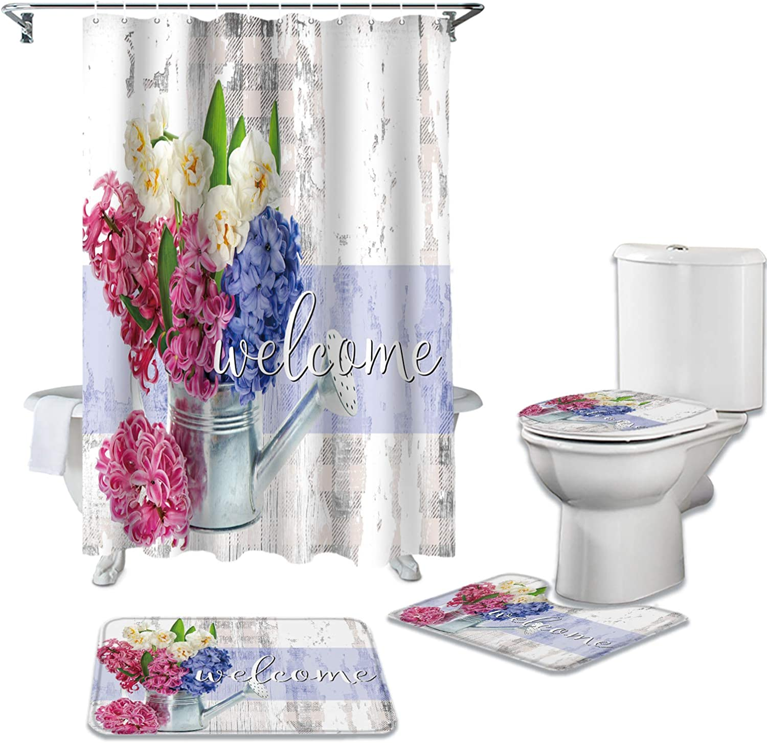 4 Pieces Shower Curtain Sets with Whi Nashville-Davidson Mall Bath Rustic Pink Rugs Ranking TOP2 Blue