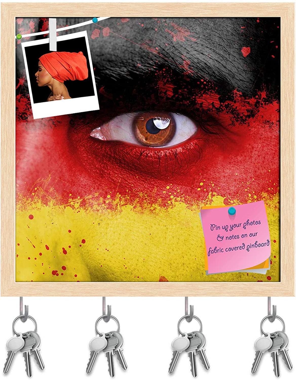 Artzfolio Germany Flag Painted On Angry Man Face Key Holder Hooks   Notice Pin Board   Natural Brown Frame 20 X 20Inch