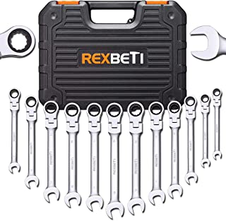REXBETI 12-Piece Metric Flex-Head Ratcheting Wrench Set, 8-19MM, Chrome Vanadium Steel Combination Wrench Set With Durable Blow Mold Case