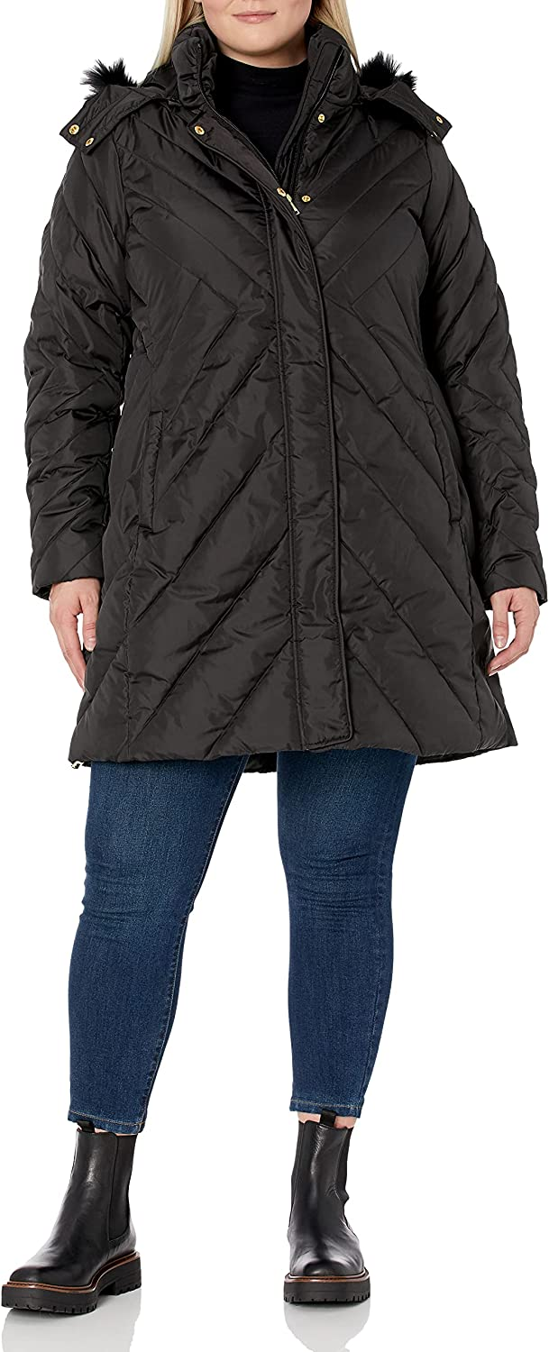 Larry online shopping Levine Women's Plus-Size Mid-Length Fur-Tri with Selling rankings Faux Coat