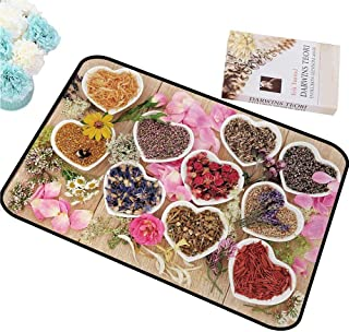 MKHUFCLE Door mat Floral,Healing Herbs Heart Shaped Bowls Flower Petals on Wooden Planks Print Healthcare,Multicolor All Season General W20 xL31