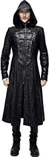 Assassin?s Creed Black Leather Gothic Punk Military Cloak Coat for Men