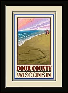 """Northwest Art Mall JK-3929 MFGDM Door County Wisconsin Love on Coast Framed Wall Art by Artist Joanne Kollman, 13"""" x 16"""", ..."""