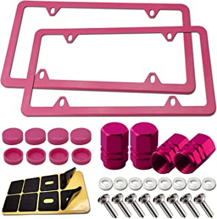 Pink License Plate Frames- Stainless Steel Car Tag Holder, Slim Custom Bling Front & Rear Brackets For US Vehicles, Red Car Accessories for Women, with Screws, Caps, Tire Valve Covers, 2 Pack 4 Holes