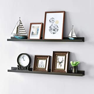 WELLAND Vista Photo Shelf Picture Ledge Floating Wall Shelves, 36-inch, Set of 2, Espresso