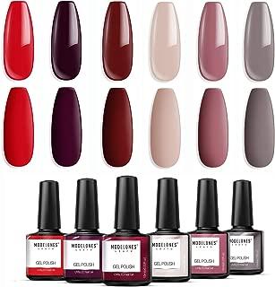 Modelones Gel Nail Polish Set – Red Grey Series 6 Colors Collection Nail Art Gift..