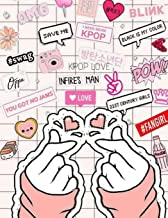 KPOP Love Saranghae TWO Finger Heart Sign Big Notebook for KNETZ and Fans: Comics Heart College Ruled Blank Lined Journal for School or Personal Notes for Teens and Fangirls