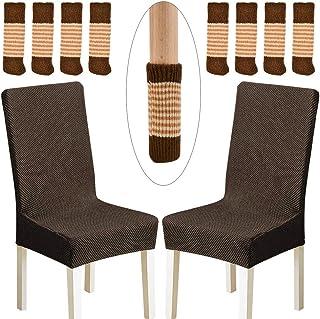 OFNMY 2pcs Fundas Decorativas de Sillas de Comedor Elásticas + 8pcs Cubiertas de Pies Sillas Antideslizantes Desmontables para Proteger de piso para silla