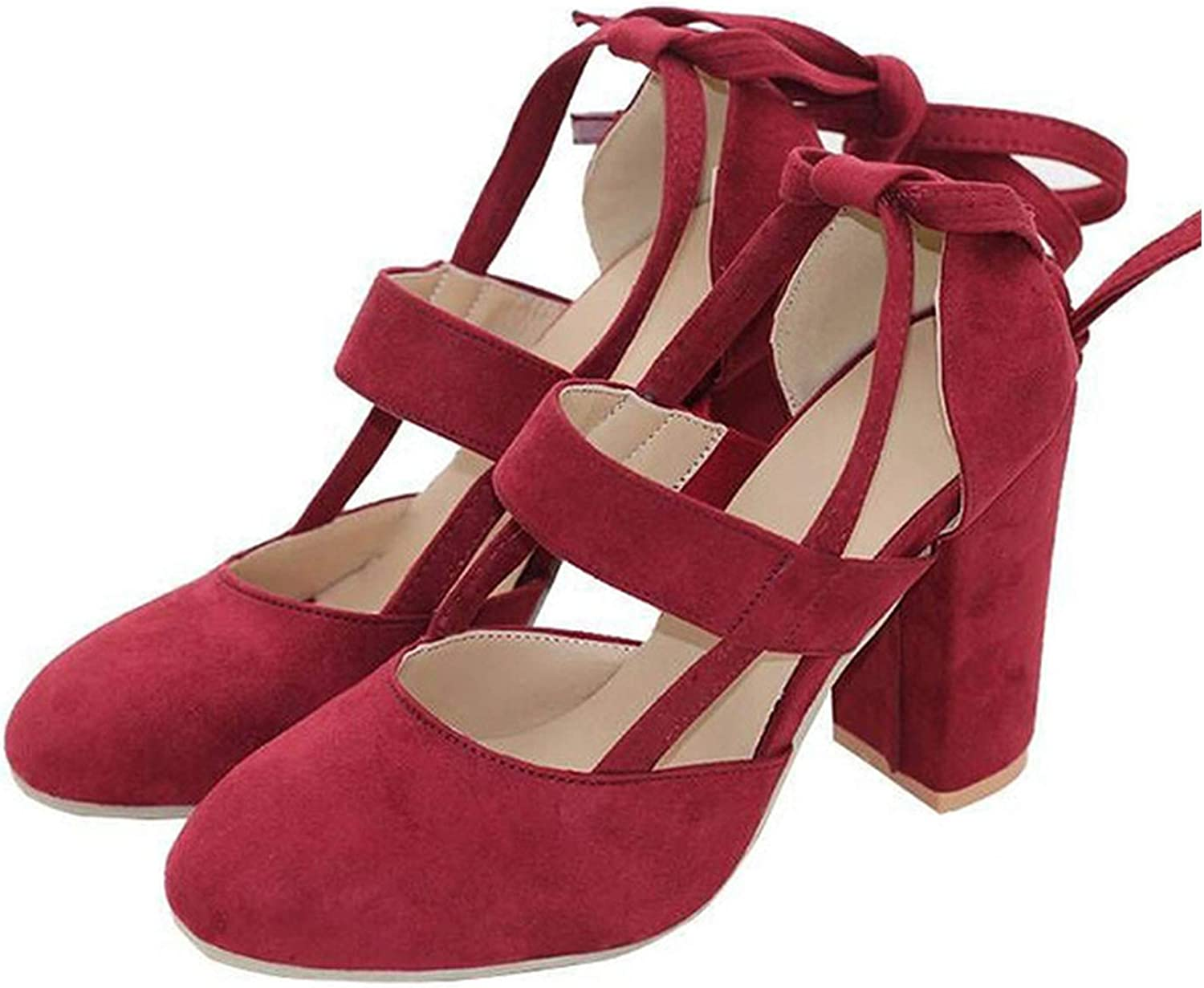 Square Heel shoes Women Pumps High Heel Sandals Suede Ankle Strap Gladiator Women Heel shoes