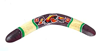 WorldBazzar Handmade Wood Wall Sculptures Aboriginal Dot Painted Kangaroo Boomerang Hangings Hand Painted Carved