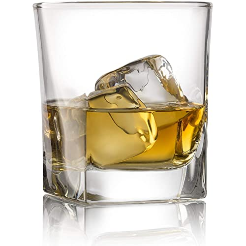 Double Old Fashioned Whiskey Glass (Set of 4) with Granite Chilling Stones - 10 oz Heavy Base Rocks Barware Glasses for Scotch, Bourbon and Cocktail Drinks