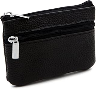 Genuine Leather Card Case Wallet/Coin Change Purse with Key Ring