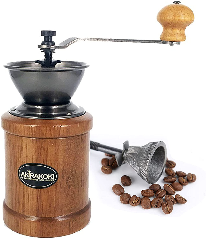 AKIRAKOKI Manual Coffee Grinder Wooden Coffee Bean Mill with Cast Iron Burr, Large Capacity Wood Hand Crank, Portable Adjustable
