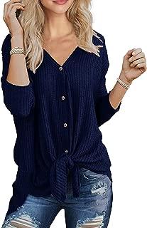 MOLERANI Womens Waffle Knit Tunic Blouse Tie Knot Henley Tops Loose V-Neck Fitting Bat Wing Plain Shirts