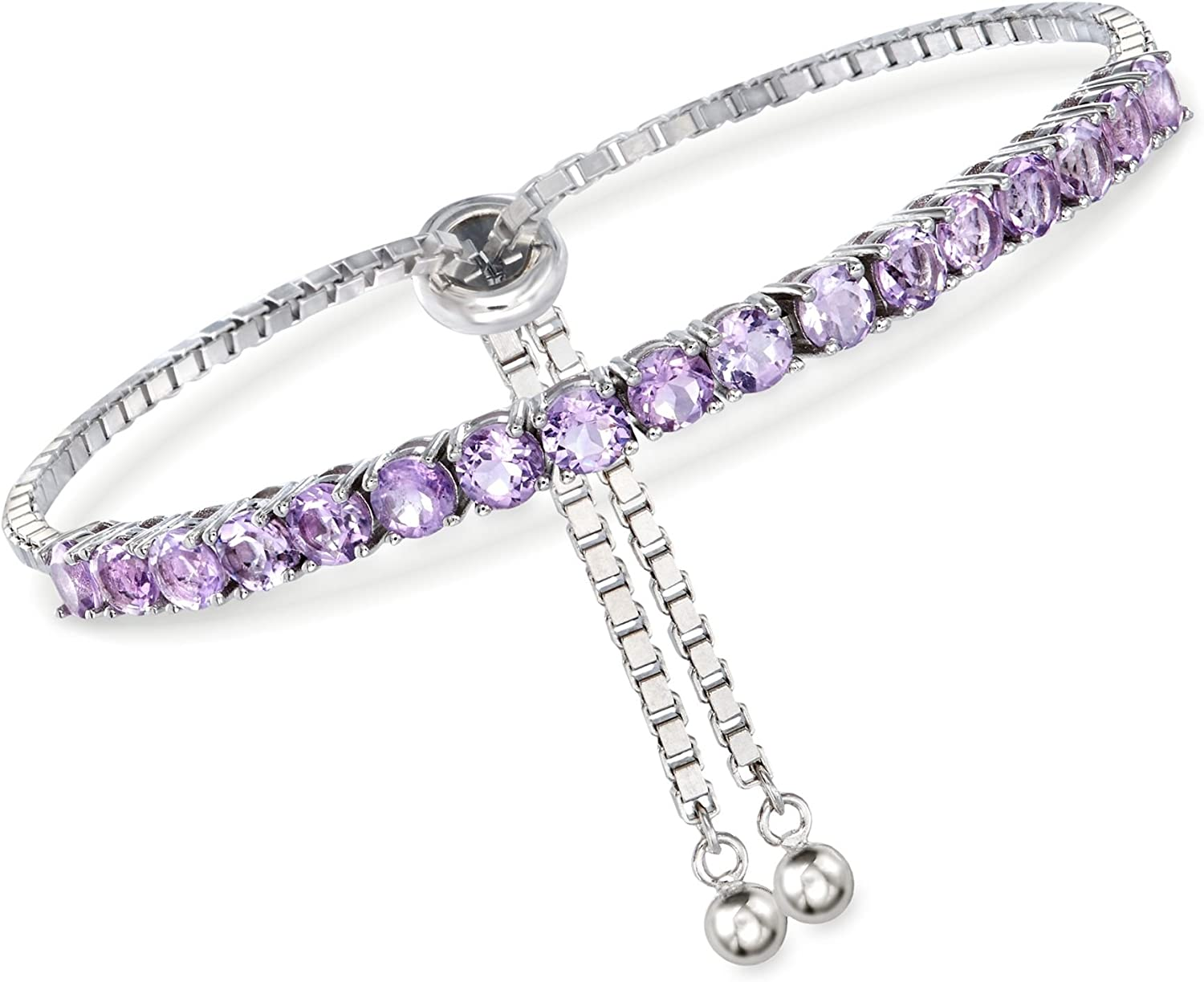 Cheap bargain Clearance SALE! Limited time! Ross-Simons 4.20 ct. t.w. Amethyst Sterling Bolo Bracelet in Sil