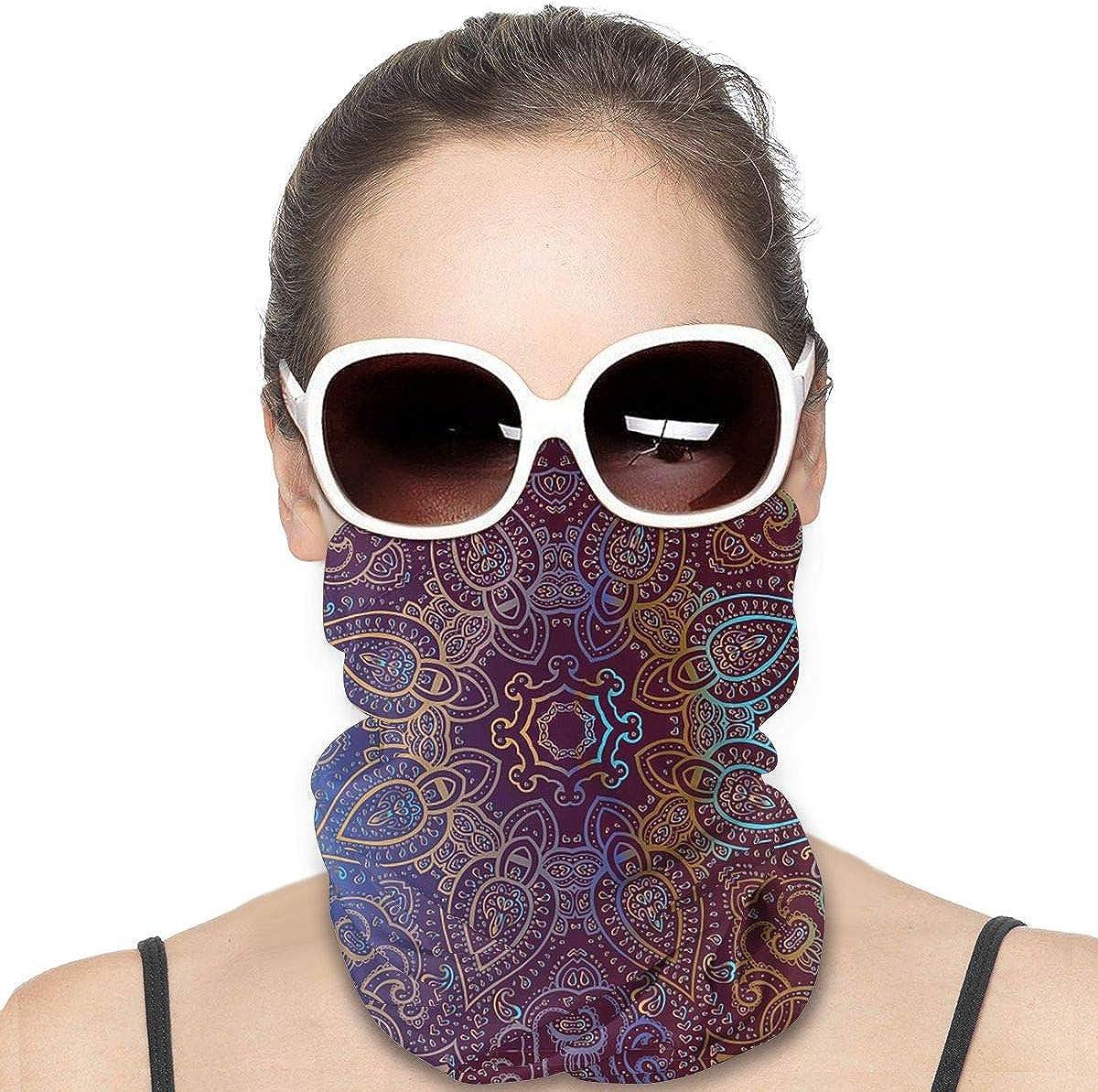 KiuLoam Women Bandanas Face Mask, Mandala Indian Decorative Neck Gaiter Mask Headband for Men Face Scarf Dust, Outdoors, Sports