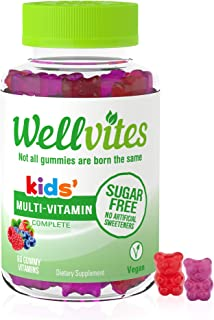 Wellvites Kids Multivitamin Sugar Free, Vegan Gummy Vitamins: Sweetener Free, Gelatin Free and Non-GMO, 60 Count (30 Day S...