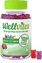 Wellvites Kids Sugar Free Daily Gummy Vitamin: Vegan, Sweetener Free, Gluten Free Multivitamin With 5g Fiber, Vitamin D3, Vitamin B6, 60 Count (30 Day Supply)