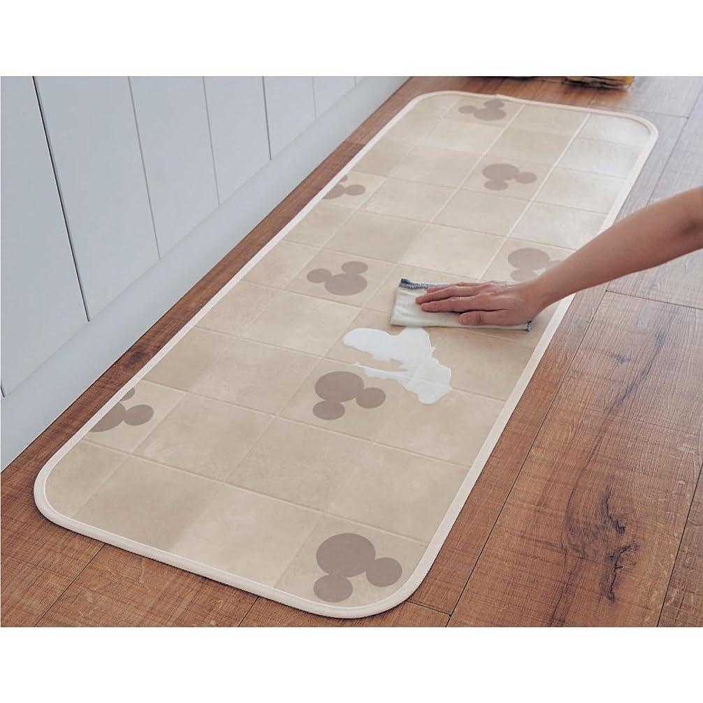 空気ゴールデン寄託[ベルメゾン] ディズニー 拭ける キッチンマット アイボリー(タイル) サイズ(cm):約45×120