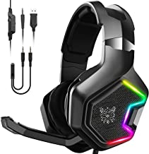 $25 » ONIKUMA Gaming Headset -Xbox One Headset PS4 Headset with 7.1 Surround Sound Pro Noise Canceling Gaming Headphones with Mic & RGB LED Light Compatible with PS4, Xbox One, Nintendo Switch, PC, PS3, Mac