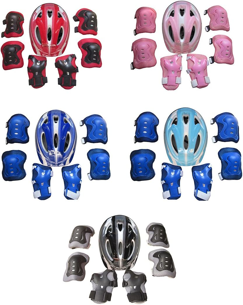 TOSHIHIKO 6 Pack Protection Roller Enfant R/églable Sport Equipement Protection Enfant Sets de Genouill/ères Coudi/ères Brassards et Prot/ège Poignet pour V/élo Skateboard Roller Scooter
