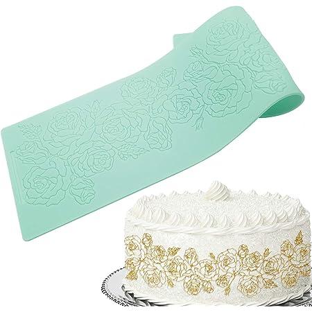 EQLEF Tapis à Dentelle, Moule à Fondant en Silicone Rose Fleurs Moule en Dentelle de Sucre en Relief pour la Décoration de Gâteau au Chocolat