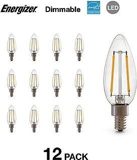 Energizer B10C 40 Watt Equivalent Filament LED Light Bulb with E12 Base (Dimmable), 12-Pack, Soft White-E12