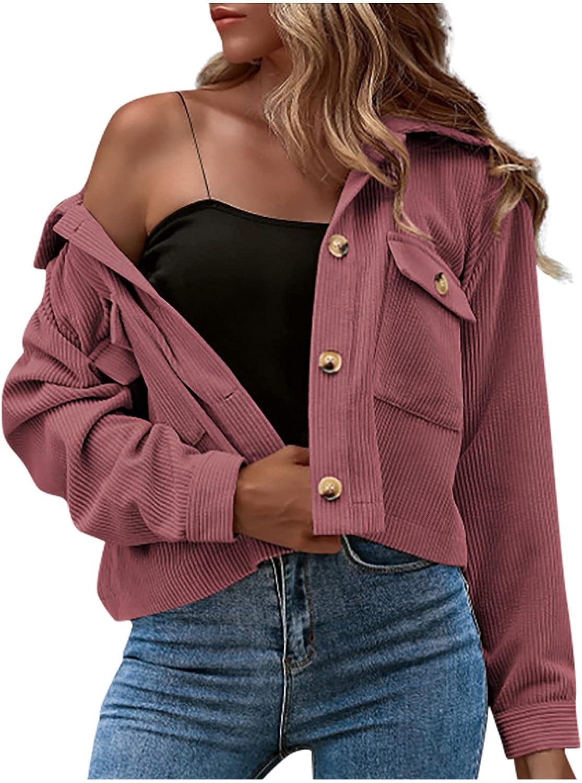 Women's Stylish Casual Jacket Coat Corduroy Button Prokets Solid Long Sleeve Shirt Coats Cardigans Sweater