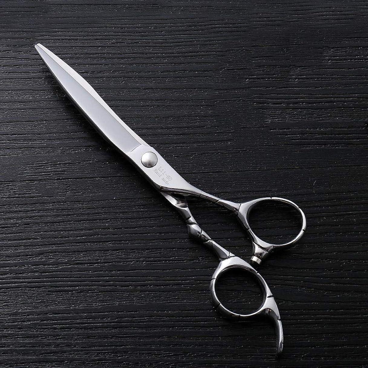 カットハサミ ヘアスタイリングツール 6インチファイントリムプロフェッショナルフラットシアハイエンドステンレスフラット理髪はさみ ヘアカットシザー (色 : Silver)
