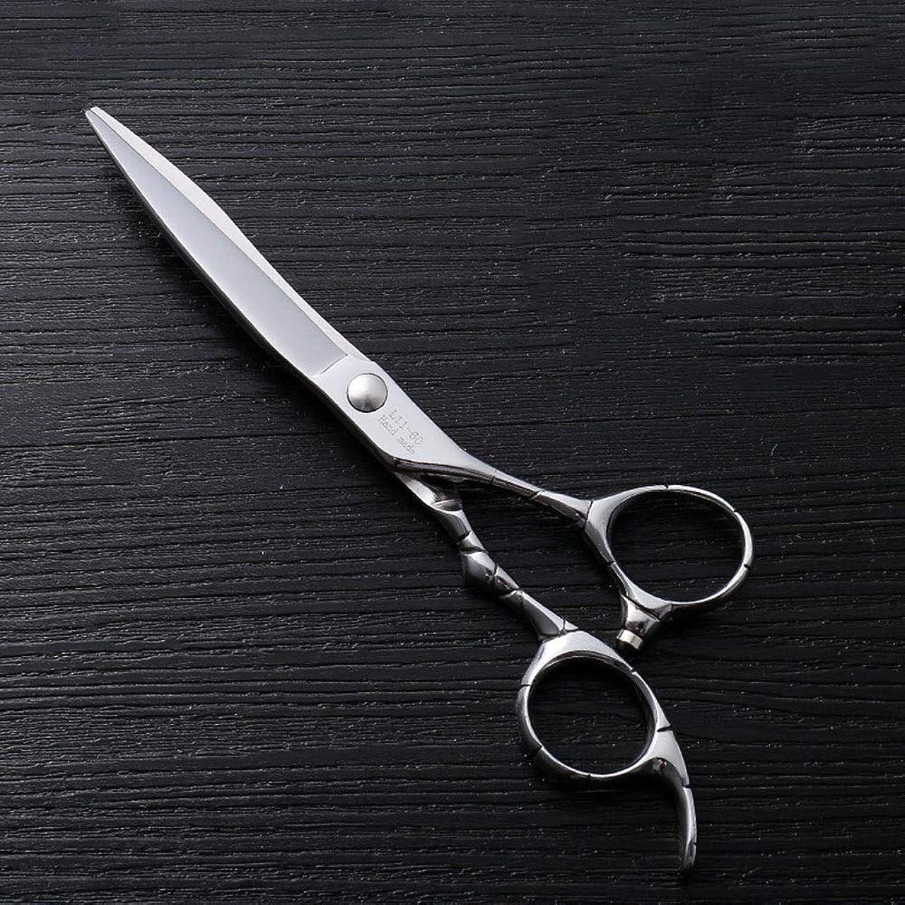トランクライブラリ穴ブーム6インチファイントリムプロフェッショナルフラットシアハイエンドステンレスフラット理髪はさみ モデリングツール (色 : Silver)