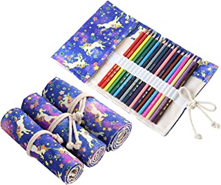 Funkeet Kids Unicorn Pencil Wrap Roll up Case Colored Canvas Travel Drawing Pencil Roll Pouch Holder Organizer for Students Artists (36 Slots)