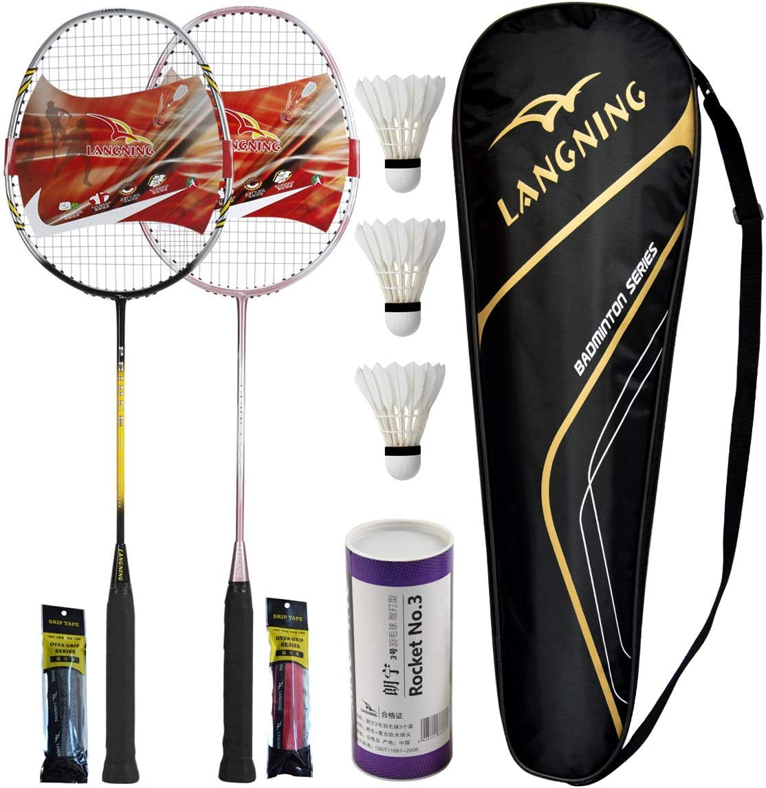 LANGNING Badminton Rackets Limited Special Price Max 60% OFF Set 2 Lightweight Fiber Carbon H Full