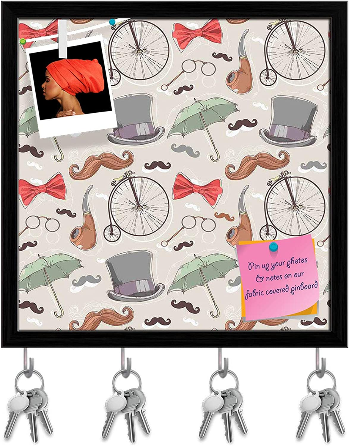 Artzfolio Vintage Retro Objects Key Holder Hooks   Notice Pin Board   Black Frame 20 X 20Inch