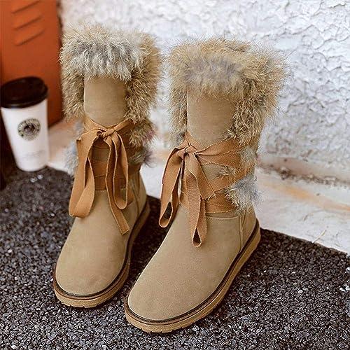 ZHRUI Stiefel para damen - Stiefel de Nieve Planas Antideslizantes Planas Stiefel Cortas para Estudiantes Cordones más Terciopelo schuhe de algodón Grueso   32-39 (Farbe   Albaricoque, tamaño   36)