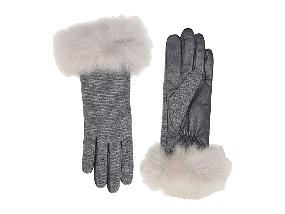 UGG Italian Wool Blend Tech Gloves with Long Pile Sheepskin Trim (Light Grey) Extreme Cold Weather Gloves