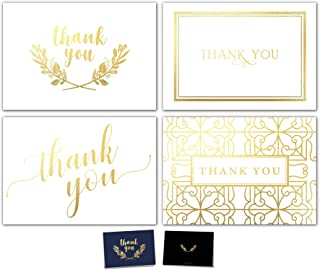 100 Thank You Cards Bulk Set - Includes Gold Foil Thank You Notes, Blank Cards with Envelopes, Stickers & Box - Perfect for Business, Wedding, Bridal Shower, Baby Showers, Funeral, Graduation