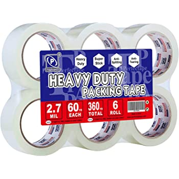 PERFECTAPE Heavy Duty Packing Tape 6 Rolls, Total 360Y, Clear, 2.7 mil, 1.88 inch x 60 Yards, Ultra Strong, Refill for Packaging and Shipping