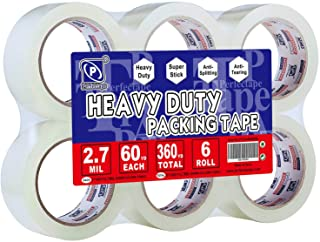 PERFECTAPE Heavy Duty Packing Tape 6 Rolls, Total 360Y, Clear, 2.7 mil, 1.88 inch x 60 Yards, Ultra Strong, Refill for Pac...